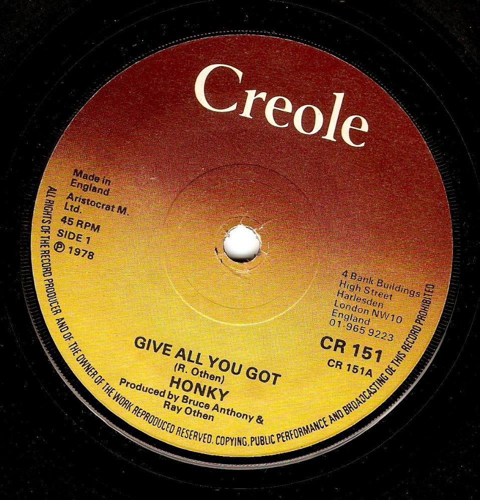 HONKY Give All You Got Vinyl Record 7 Inch Creole 1978